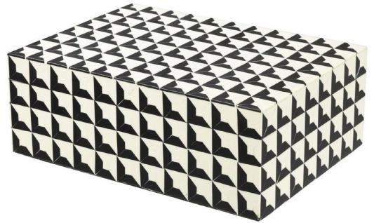 Casa Padrino Designer Schmuckkasten mit Deckel Schwarz / Weiß 28 x 21 x H. 10 cm - Schmuckschatulle - Aufbewahrungsbox - Luxus Qualität