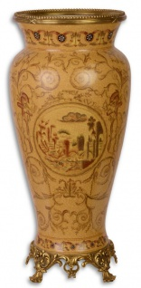 Casa Padrino Jugendstil Vase Beige / Gold Ø 21, 1 x H. 46, 6 cm - Deko Porzellan Vase