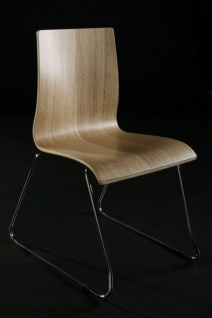 Designer Stuhl aus Holz und verchromtem Stahl Schwarz in natürlicher Holzoptik, Esszimmerstuhl, moderner Wohnzimmerstuhl