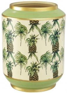 Casa Padrino Luxus Porzellan Vase Grün / Mehrfarbig Ø 22 x H. 29 cm - Blumenvase mit Ananas Design