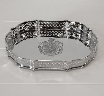 Casa Padrino Luxus Tablett Oval Massiv vernickelt, 29 x 21 x 4 cm - Luxury Collection - 5 Sterne Gastronomie Einrichtung Deko