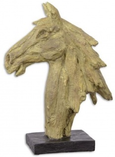 Casa Padrino Kunstharz Deko Skulptur Pferdekopf Beige / Schwarz 16 x 37, 1 x H. 49, 6 cm - Dekofigur - Schreibtisch Deko