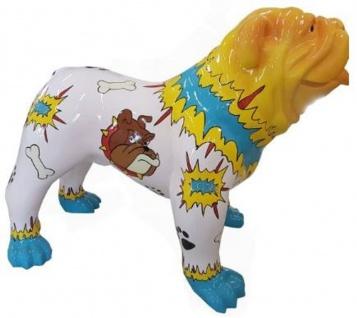 Casa Padrino Designer Dekofigur Hund Bulldogge Bunt 90 x H. 74 cm - Wetterbeständige Deko Skulptur - Wohnzimmer Deko - Garten Deko - Designer Deko Tierfigur