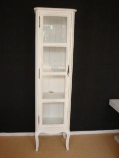Landhausstil Vitrinenschrank mit Glastür und geschwungenen Beinen weiß Antik - Look shabby - chic - Vitrine - Glasvitrine
