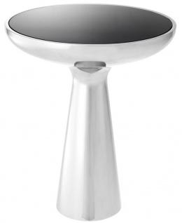 Casa Padrino Luxus Beistelltisch Silber / Schwarz Ø 50 x H. 60 cm - Runder Edelstahl Tisch mit Glasplatte