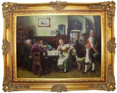 Casa Padrino Barock Ölgemälde Gesellschaft im Wirtshaus Mehrfarbig / Gold 160 x 10 x H. 130 cm - Handgemaltes Gemälde mit prunkvollem Rahmen im Barockstil - Barock Wanddeko