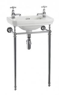 Casa Padrino Jugendstil Stand Gäste WC Waschtisch Weiß / Chrom B 51cm mit 2 Hahnlöchern Mod2 - Art Deco Waschbecken Barock Antik Stil