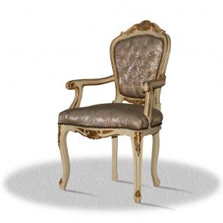 Casa Padrino Barock Armlehnen Esszimmerstuhl Creme Gold Silber