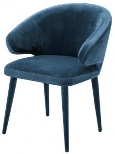 Casa Padrino Designer Esszimmerstuhl Blau 62 x 55 x H. 79 cm - Luxus Möbel