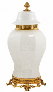 Casa Padrino Luxus Barock Keramik Vase Weiß / Gold - Grand Decor V2 - Hotel Dekoration