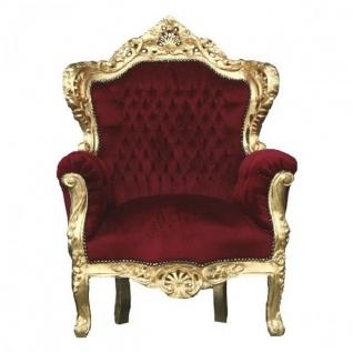 "Casa Padrino Barock Sessel "" King"" Bordeaux / Gold Thron Stuhl"