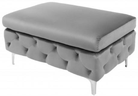 Casa Padrino Chesterfield Samt Hocker Grau / Silber 90 x 63 x H. 47 cm - Moderner rechteckiger Sitzhocker - Wohnzimmermöbel