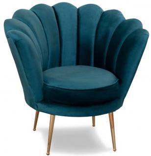 Casa Padrino Designer Art Deco Wohnzimmer Sessel Türkis / Messingfarben 80 x 50 x H. 80 cm - Art Deco Wohnzimmer Möbel