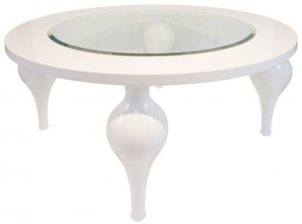 Casa Padrino Neoklassik Couchtisch Hochglanz Weiß Ø 110 x H. 40 cm - Massivholz Küchentisch mit Glasplatte - Wohnzimmer Möbel im Neoklassischem Stil