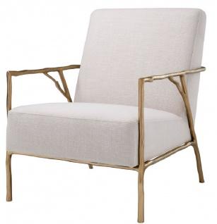 Casa Padrino Luxus Sessel Naturfarben / Gold 63 x 81 x H. 82 cm - Wohnzimmer Sessel - Luxus Möbel