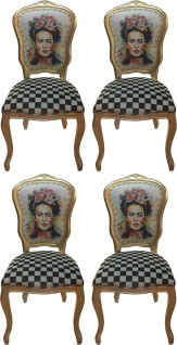 Casa Padrino Luxus Barock Esszimmer Set Madmoisell Mehrfarbig / Gold 55 x 54 x H. 103 cm - 4 handgefertigte Esszimmerstühle - Barock Esszimmermöbel