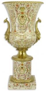 Casa Padrino Barock Vase Creme / Mehrfarbig / Gold Ø 30, 8 x H. 64, 5 cm - Prunkvolle Porzellan Blumenvase mit Sockel und 2 Bronze Griffen - Barock Deko Accessoires