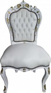 Casa Padrino Barock Esszimmer Stuhl Weiß / Weiß / Gold - Antik Stil Möbel