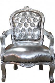 Casa Padrino Barock Kinder Stuhl Silber Lederoptik /Silber - Armlehnstuhl