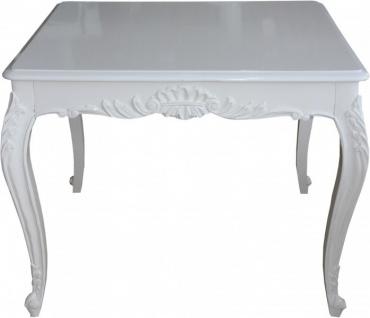 Casa Padrino Barock Esstisch Weiss 100 cm x 100 cm- Esszimmer Tisch - Antik Stil Möbel