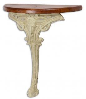 Casa Padrino Barock Beistelltisch Braun / Weiß 63 x 31 x H. 65, 5 cm - Halbrunder Tisch mit Holzplatte und Gusseisen Bein - Barock Wandtisch