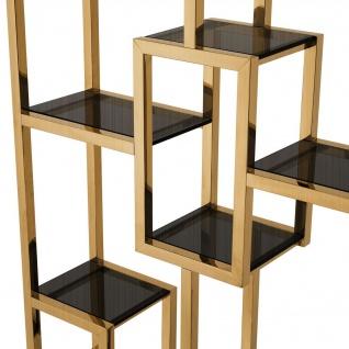 Casa Padrino Luxus Regalschrank Messing / Schwarz 108 x 29 x H. 240 cm - Edelstahl Wohnzimmerschrank mit 10 Glasregalen - Luxus Wohnzimmer Möbel - Vorschau 5