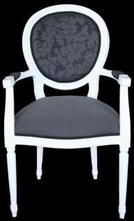 Casa Padrino Barock Esszimmer Stuhl mit Armlehne Grau / Weiß - Designer Stuhl - Luxus Qualität