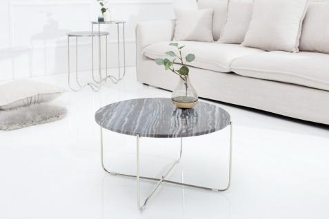 Casa Padrino Designer Beistelltisch mit Marmorplatte Ø 60 cm Grau / Silber H. 33 cm - Unikat - Vorschau 4
