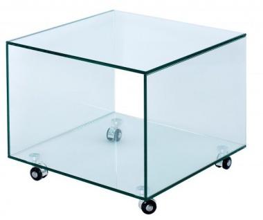 Casa Padrino Wohnzimmer Beistelltisch mit Rollen aus Glas Transparent 50 x 50 x H. 45 cm - Designer Möbel