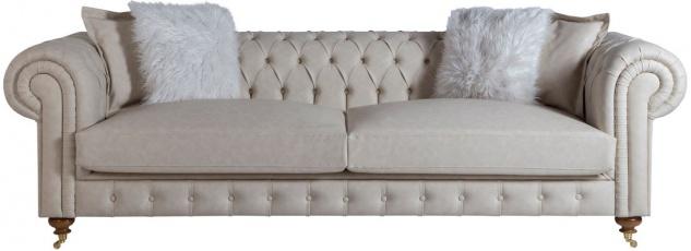Casa Padrino Luxus Chesterfield Sofa Grau / Braun 240 x 100 x H. 78 cm - Edles Wohnzimmer Sofa - Chesterfield Möbel - Vorschau 1
