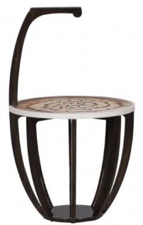 Casa Padrino Luxus Beistelltisch Dunkelbraun / Weiß / Braun Ø 50 x H. 88 cm - Kleiner Getränke Tisch mit Tragegriff