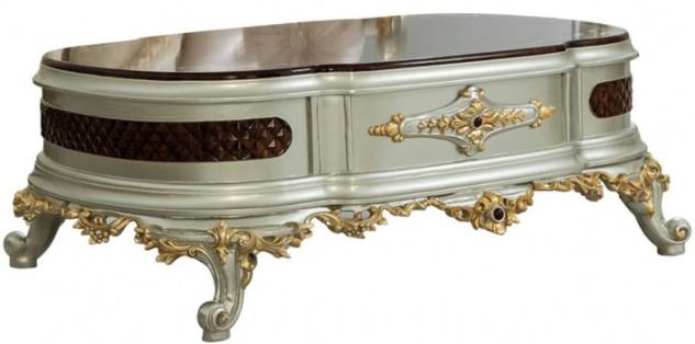 Casa Padrino Luxus Barock Couchtisch Dunkelbraun / Silber / Gold 132 x 95 x H. 50 cm - Prunkvoller Massivholz Wohnzimmertisch - Barock Möbel