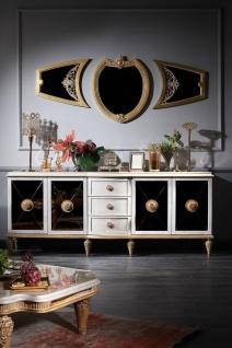 Casa Padrino Luxus Barock Wohnzimmer Set Weiß / Gold - Barock Kommode und 3 Wandspiegel - Barockmöbel