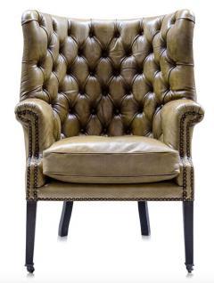 Casa Padrino Luxus Echtleder Sessel Gelb / Schwarz 84 x 85 x H. 112 cm - Luxus Hotel Möbel