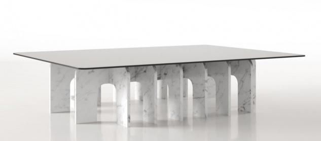 Casa Padrino Luxus Marmor Couchtisch mit Glasplatte Weiß 140 x 80 x H. 35 cm - Rechteckiger Wohnzimmertisch aus hochwertigem spanischen Carrara Marmor - Luxus Wohnzimmer Möbel