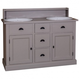 Casa Padrino Landhaus Stil Waschschrank Waschtisch inkl 2 Waschbecken mit Schubladen und Schranktüren - Bad Schrank Massivholz - Vorschau 1