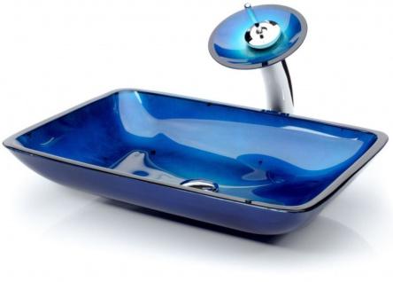 Casa Padrino Designer Waschtisch Set Blau 55 x 35 x H. 30 cm - Einhebel Wasserhahn mit rechteckigem Glas Waschbecken - Luxus Bad Zubehör