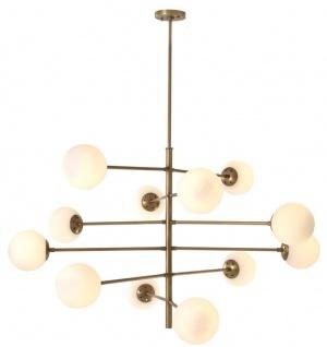 Casa Padrino Luxus Kronleuchter Antik Messingfarben / Weiß Ø 122 x H. 69 cm - Luxus Qualität