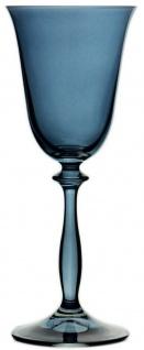 Casa Padrino Luxus Barock Weißweinglas 6er Set Blau Ø 8, 5 x H. 21 cm - Handgefertigte Weingläser - Hotel & Restaurant Accessoires - Luxus Qualität