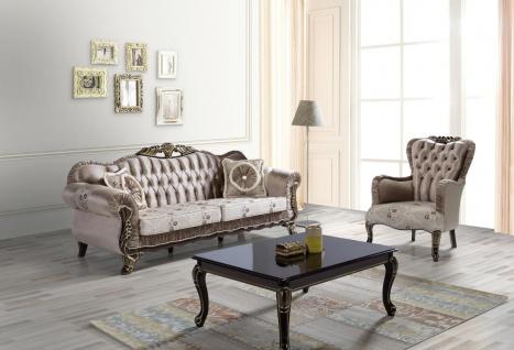Casa Padrino Barock Wohnzimmer Set Braun / Beige / Schwarz / Gold - 2 Sofas & 2 Sessel & 1 Couchtisch - Wohnzimmer Möbel im Barockstil