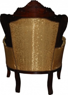 Casa Padrino Barock Sessel King Gold Muster / Brown Möbel Antik Stil - Vorschau 2