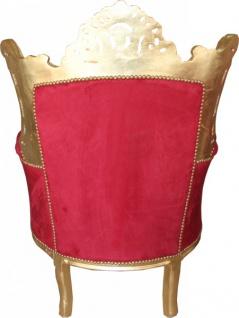 Casa Padrino Antik Stil Barock Wohnzimmer Sessel Al Capone Bordeaux / Gold - Limited Edition - Vorschau 3