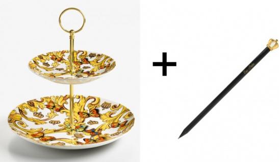 Harald Glööckler Porzellan Etagere 2-stöckig Rococo + Luxus Bleistift von Casa Padrino im Kronendesign - Barock Dekoration