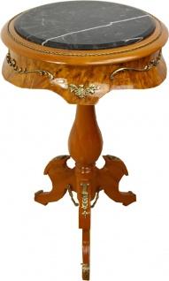 Casa Padrino Barock Beistelltisch Mahagoni Hellbraun mit Marmorplatte 70 x 41 cm - Tisch Möbel Barockmöbel