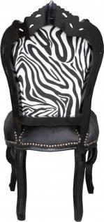 Casa Padrino Barock Esszimmer Stuhl ohne Armlehnen Schwarz/Zebra/Schwarz - Antik Möbel Zebra - Vorschau 3