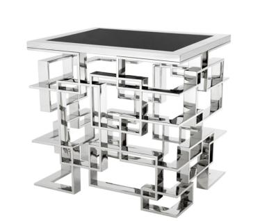 Casa Padrino Luxus Art Deco Designer Beistelltisch mit schwarzer Granitplatte - Luxus Kollektion