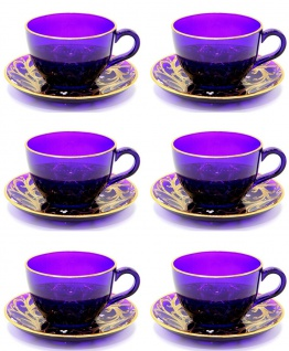 Casa Padrino Luxus Barock Kaffee / Tee Tassen 6er Set Lila / Gold - Handgefertigte & handbemalte Tassen mit Untertassen - Hotel & Restaurant Accessoires - Luxus Qualität