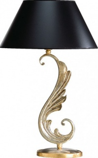 Casa Padrino Luxus Barock Tischleuchte Schwarz / Gold - vergoldete Säulen Lampe - Handgefertigt in Italien