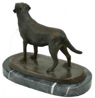 Casa Padrino Luxus Bronze Skulptur Hund Labrador Bronze / Schwarz 23 x 13 x H. 17 cm - Deko Bronzefigur mit Marmorsockel - Vorschau 2