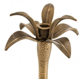 Casa Padrino Luxus Kerzenhalter Vintage Messingfarben Ø 20 x H. 30 cm - Messing Kerzenständer im Palmen Design - Vorschau 3